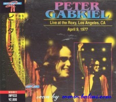 Peter Gabriel, Live at the Roxy, Los Angeles CA, Other, INP-033