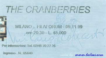 The Cranberries, Milano, , 09-11-1999