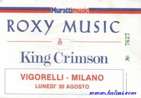 Roxy Music, King Crimson, Milano, , 30-08-1982