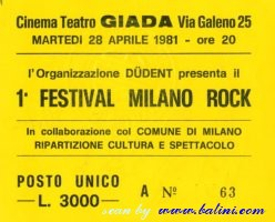 Various Artists, Milano rock, Milano, , 28-04-1981
